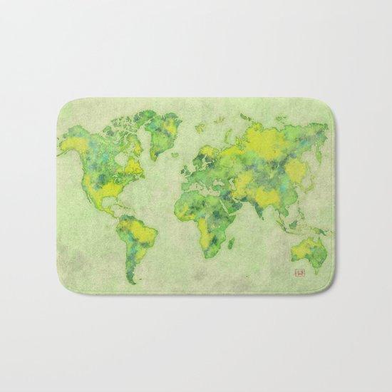 World Map Green Vintage Bath Mat