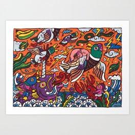 Mallard ducks with elephant Art Print