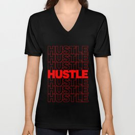 Hustle Thank You Plastic Bag Typography Unisex V-Neck