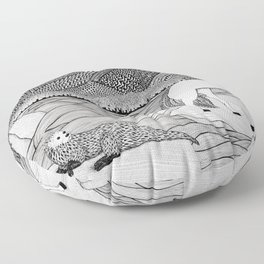 A Meeting by the Water--B&W Floor Pillow