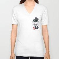 pocket V-neck T-shirts featuring Pocket Pal by Dooomcat