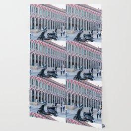 Vespa Scooter Photograph Split Croatia Arches Architecture Wallpaper