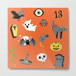Halloween pattern in orange Metal Print