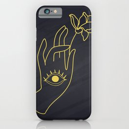 Lord Buddha's Hand With Eye Holding Lotus Flower iPhone Case