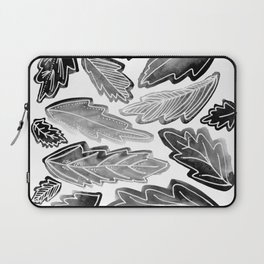 Monotone Leaves Black and White Laptop Sleeve