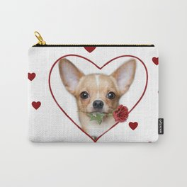 Valentines heart Chihuahua dog Carry-All Pouch