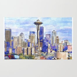 Seattle View in watercolor Rug