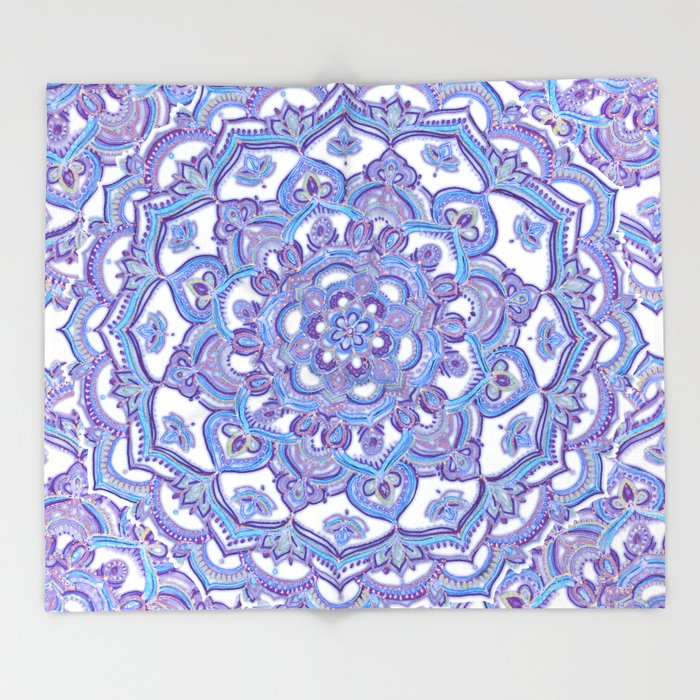 Lilac Spring Mandala - floral doodle pattern in purple & white Throw ...