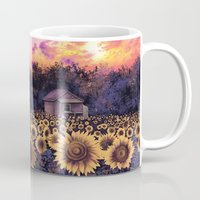 sunflowers Mugs featuring sunflowers by Bekim ART