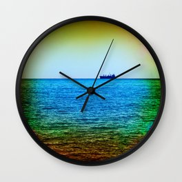 Cargo Ship on the Horizon Wall Clock
