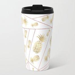 Elegant modern faux rose gold geometrical gold pineapple Travel Mug