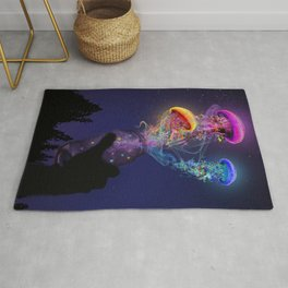 Electric Jellyfish World Released Rug