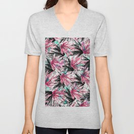 Abstract Pink Teal Leaves and Geometric Triangles Unisex V-Neck