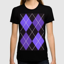 Dashed diamond check purple & black for Halloween T-shirt