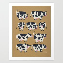Cow Collection - Kraft Art Print