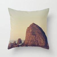 oregon Throw Pillows featuring Oregon Ocean by Kurt Rahn