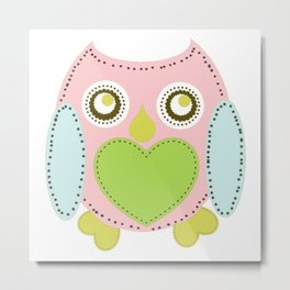 Lovely Owl - pink Metal Print