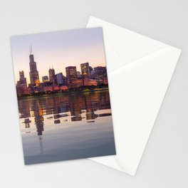 Panorama of the City skyline of Chicago Stationery Cards
