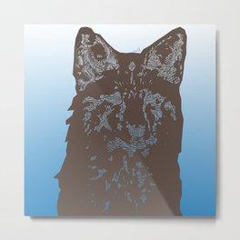 Fox Woodcut Metal Print