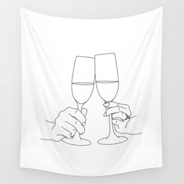 Champagne Toast Wall Tapestry