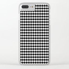 mini Black and White Mini Diamond Check Board Pattern Clear iPhone Case