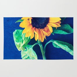 A decorative sunflower on the blue background Rug