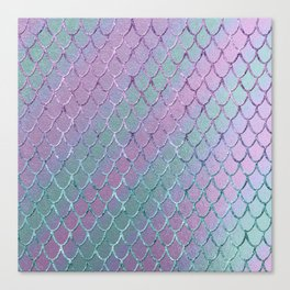 Mermaid Princess Glitter Scales Glam #1 #shiny #stripes #decor #art #society6 Canvas Print