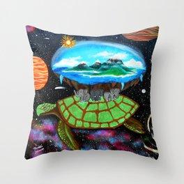 Cosmic Turtle Journey Through Space Throw Pillow