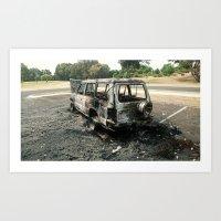 Burnt-out shell of 4x4 in Bunbury, SW of Western Australia Art Print