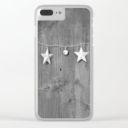 Stars on Wood (Black and White) Clear iPhone Case