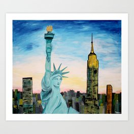 Statue of Liberty with view of NEW YORK Art Print