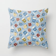 Cozy Mugs - Snowy Day Throw Pillow