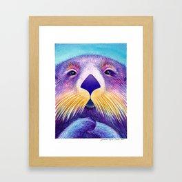 Otter Face to Face Framed Art Print
