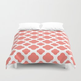 Coral Pink Quatrefoil Pattern Duvet Cover