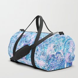 Mermaid blue turquoise watercolor boho dreamcatcher floral pattern Duffle Bag