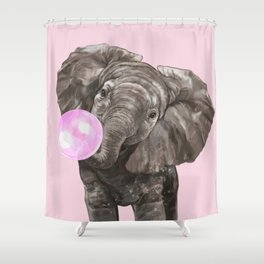 Baby Elephant Blowing Bubble Gum Shower Curtain