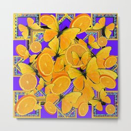 ORANGE SLICES YELLOW BUTTERFLY PURPLE ART Metal Print