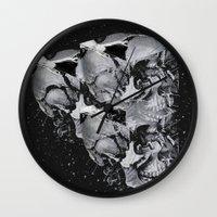 skulls Wall Clocks featuring Skulls by Mrs Araneae