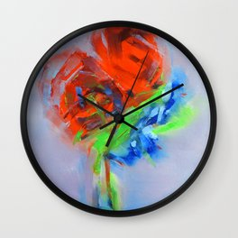 ''Pink Rosses'' Oil painting by Diana Grigoryeva Wall Clock