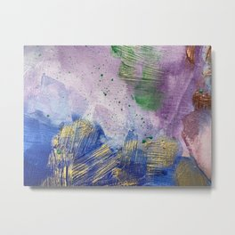 Sandman Dust: Royal Blue, Purple, Green and Gold Abstract Painting Metal Print