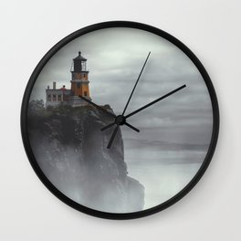 Lighthouse in Thick Fog - Scenic Coastal Landscape Photography Wall Clock