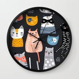 Wild Cats Pattern Wall Clock