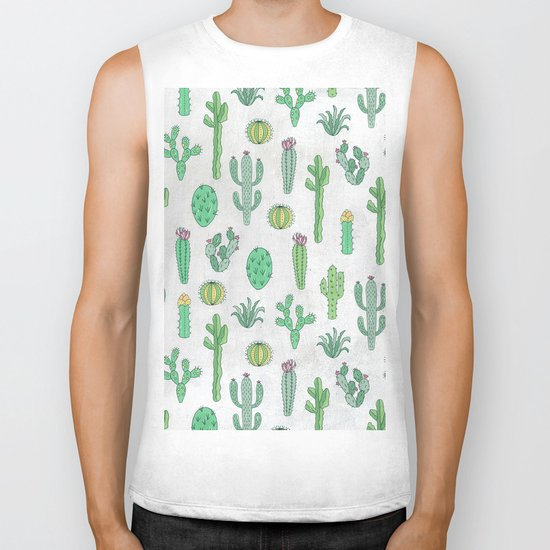 Cactus Pattern White Biker Tank