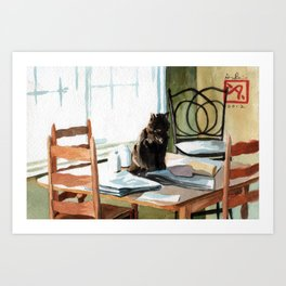 Cat on a Table With Light Coming Through a Window Art Print
