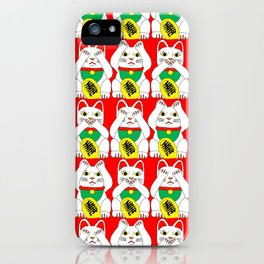 Three Wise Lucky Cats on Red iPhone Case