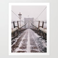 Snowy Brooklyn Bridge Art Print