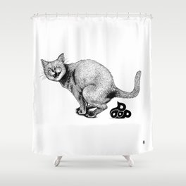 Pooping Kitty Shower Curtain