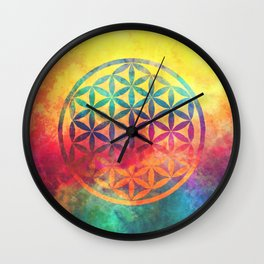 Rainbow Flower Of Life Wall Clock