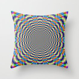 Rosette in Yellow and Blue Throw Pillow