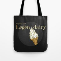 how i met your mother Tote Bags featuring Legendairy Gold - How I Met Your Mother by Tamsin Lucie